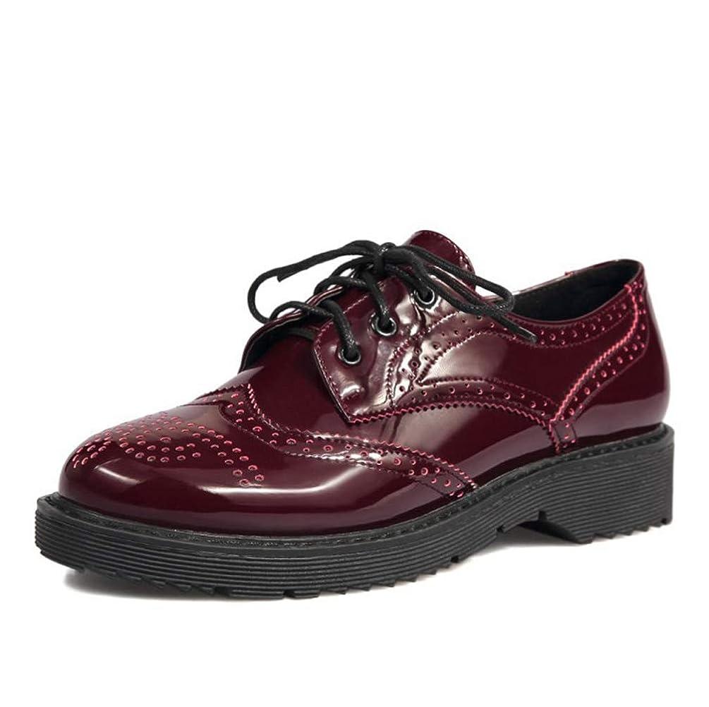 独創的コンテンポラリー繁栄する[THLD] オックスフォードシューズ レディース ウィングチップ フラットシューズ おじ靴 厚底 22cm ~ 26.5cm 歩きやすい エナメル 婦人靴 黒 ブラック レッド 赤 3ボール パンチング ローヒール 3.5cm 紐靴 通勤 通学 大きいサイズ