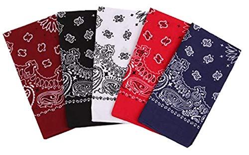 Freessom Lot de 5 Bandana Cheveux Homme Femme 100%Coton Motif Paisley Vintage Original Bandeau Echarpe de Cou Foulard Carre Mouchoir Serre Tete de Sport Pas Cher-Bordeaux Noir Rouge Bleu Marine Blanc