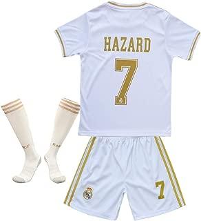 #7 Hazard Jersey Real Madrid Home Kids/Youth 2019-2020 Socce Jersey Matching Shorts,Socks White