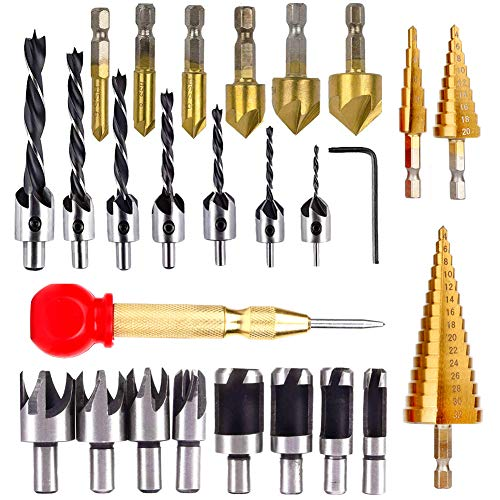 LAMPTOP 26PCS Woodworking Drilling Tools, Including 6 Countersink Drill Bits, 7 Three Pointed Drill Bit with L-Wrench, 8 Wood Plug Cutter, 3 Step Drill Bit, and Automatic for Wood DIY Drilling Holes