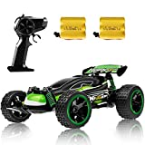 RC Racing Car, 2.4Ghz High Speed Remote Control Car, 1:18 2WD Toy Cars Buggy for Boys & Girls with Two Rechargeable Batteries for Car, Gift for Kids(Green)