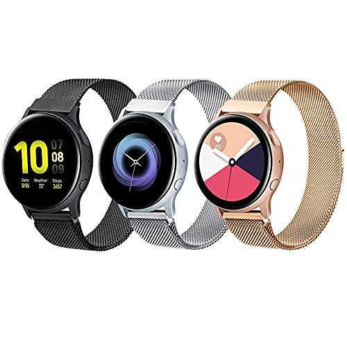 Paquete de 3 compatibles con Samsung Galaxy Watch 3 41 mm/Active 2 40 mm 44 mm/Active/Galaxy Watch 42 mm, correa de repuesto ajustable de malla de acero inoxidable de 20 mm para mujeres y hombres