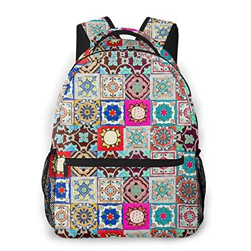 Mochila para adolescentes, hombres, mujeres, paquete de almacenamiento,Patrones de baldosas cerámicas de Portug, Mochila para portátil de viaje para estudiantes de escuela informal de negocios