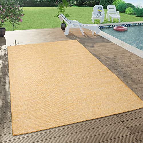 Paco Home In- & Outdoor-Teppich Für Wohnzimmer, Balkon, Terrasse, Flachgewebe In Gelb, Grösse:120x160 cm