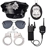 Beelittle Police Officer Role Play Kit Police Hat Handcuffs Walkie Talkies Policeman Badge Sunglasses Police Costume Accessories for Cop Swat FBI Halloween Party Dress up (C)