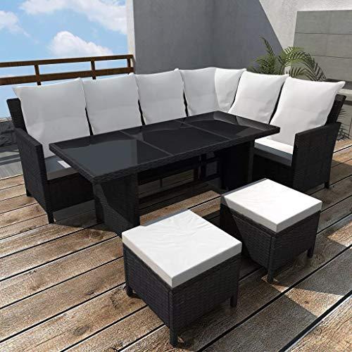 Tidyard Conjunto Muebles de Jardín de Ratán 14 Piezas para 8 Personas con Mesa y Cojines Extraíbles,Sofas Exterior para Jardín Terraza Patio en Ratán PE Negro