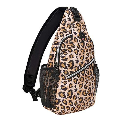 MOSISO Sling Backpack,Travel Hiking Daypack Leopard Print Rope Crossbody Bag, Brown