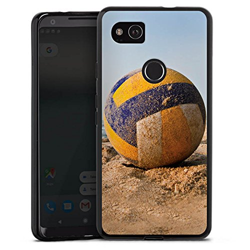 DeinDesign Silikon Hülle kompatibel mit Google Pixel 2 XL Case schwarz Handyhülle Volleyball Sand Hobby