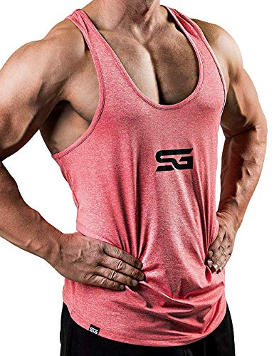 Satire Gym Fitness Stringer Herren - Funktionelle Sport Bekleidung - Geeignet Für Workout, Training - Tank Top (rot meliert, XXL)