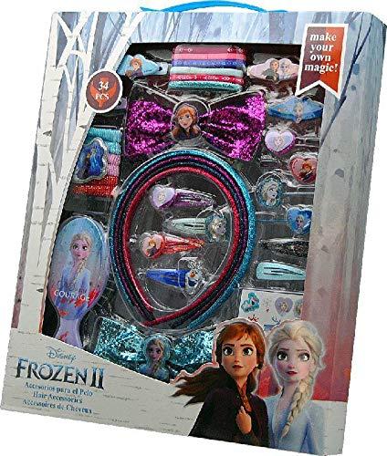 Frozen- Set 34 pzas Pelo con Cepillo 2 Sets de cosmética y joyería (KIDS 20564) , color/modelo surtido