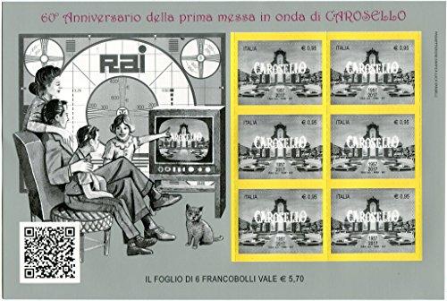 """2017 60° Anniversario della Prima Messa in Onda di CAROSELLO 1957 2017 Rai Radio Televisione Italiana BF Foglietto di Poste Italiane """"il Patrimonio artistico e culturale italiano"""""""