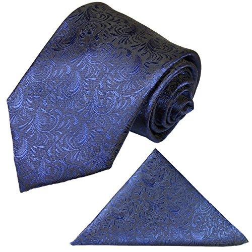 Paul Malone Krawatten Set 2tlg Krawatte + Einstecktuch blau Hochzeitskrawatte Bräutigam