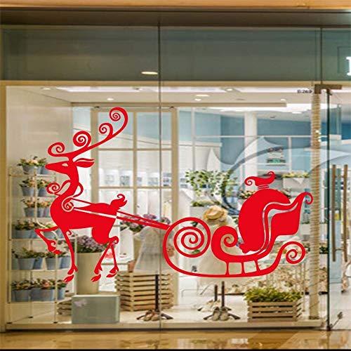 YuanMinglu Reno Feliz Navidad Adhesivo Home Art Adhesivo Rojo 63x100cm