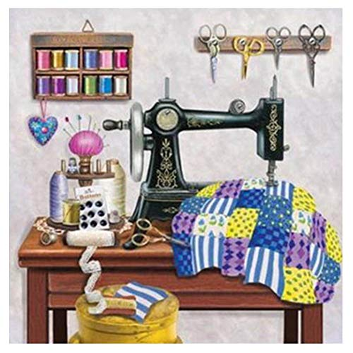 junshi11 Diamond Painting by Number Kits for Kids Adult, DIY Full Round Drill Sewing Machine Picture Cross Stitch Craft for Living Room Bedroom Home Wall Decor A