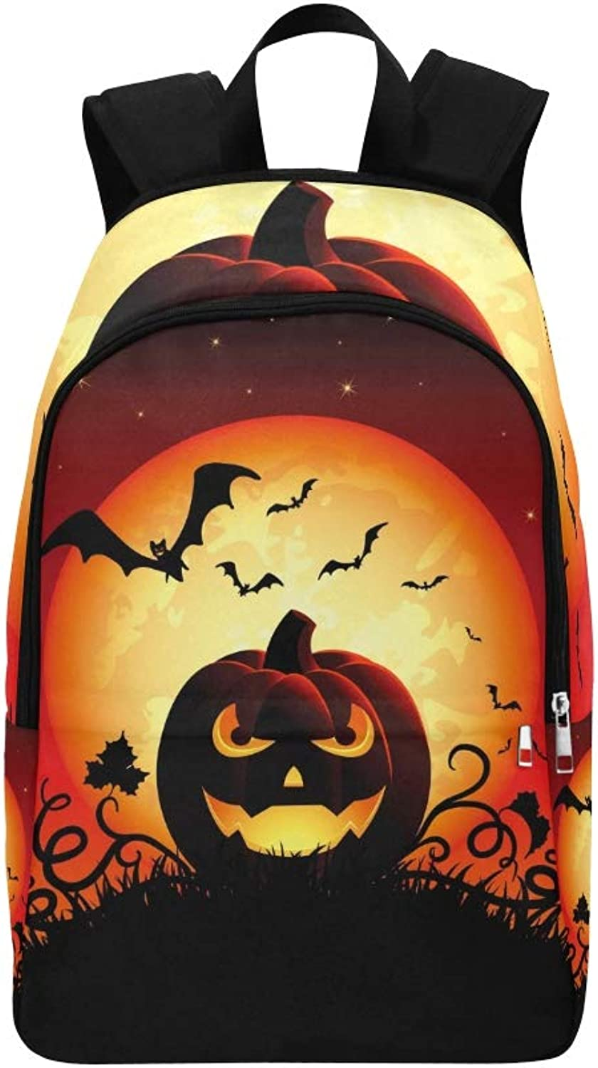 Halloween Night Jack O Lantern Casual Daypack Travel Bag College School Backpack for Mens and Women