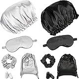 Henreal 2 Set Silk Sleep Masks Kit, Includes 2 Classic Color Soft Silk Eye Cover Double Layer with Elastic Strap, 2 Silk Lined Sleep Cap, 2 Daily Satin Hair Scrunchies, 2 Pair Earplugs for Night Sleep