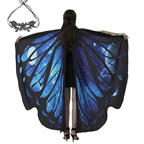 carol -1 Damen Schmetterling Kostüm Faschingkostüme Schmetterling Schal Flügel Schal Tuch Schmetterlingsflügel Erwachsene Poncho Umhang für Party Weihnachten Kostüm Cosplay Karneval Fasching(168*135)
