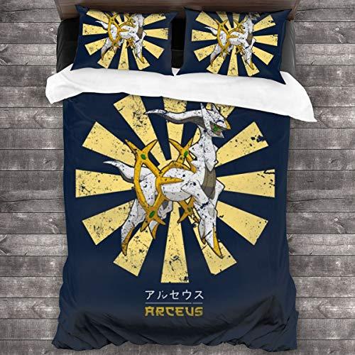 """KUKHKU Arceus Retro Japonés Monstruo del Bolsillo 3 piezas Juego de funda de edredón de 86"""" x 70,Queen Decorativo Juego de cama de 3 piezas con 2 fundas de almohada"""
