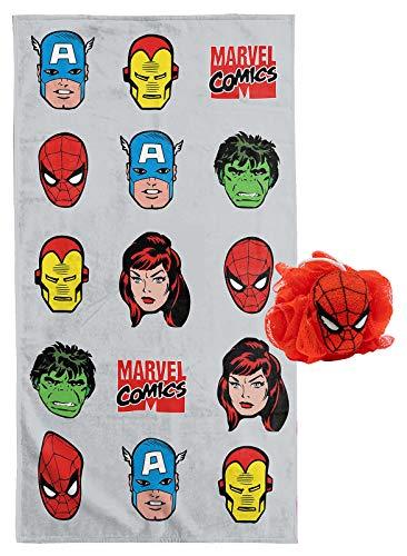 Jay Franco Marvel Comics Avengers Blast 2 Piece Bath Towel & Loofah Set - Featuring Spiderman - Super Soft & Absorbent Fade Resistant Cotton Towel (Official Marvel Product)