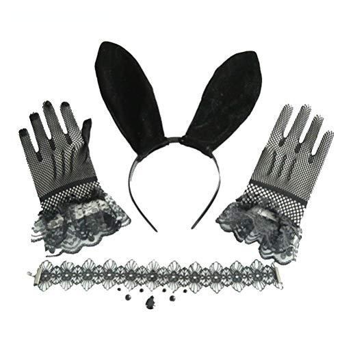 Amosfun Disfraz de conejito niña encaje conejo oído diadema guantes collar conejo oído pelo aro mujer sexy Cosplay accesorios