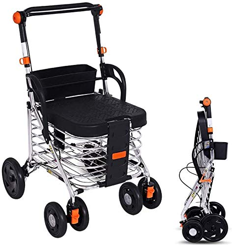 Shopping cart Opvouwbare shopping cart/rollator/trolley, lichtgewicht rollator shopping cart for ouderen, Walker en rust stoel geschikt for ouderen, gehandicapten en gehandicapten Lichtgewicht win