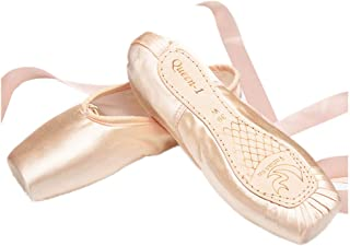 Nexete Professional Vanassa Ballet Pointe Shoes Satin Dance Slipper Flats with Toe Pad & Ribbon,Genuine Leather Sole,Resilient &Strong Shank Able to Reach Full Pointe for Girl Women Pink Black Red