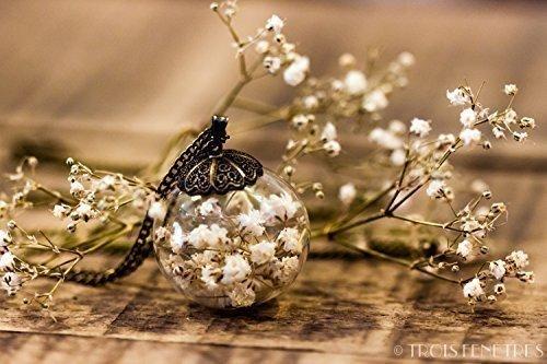 Colgante de flores blancas de gipsofila - Collar hippie de flor seca n
