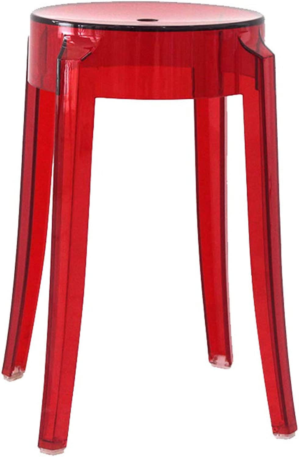 Plastic Circular Stool Transparent Thickening Acrylic Crystal Household Chair Fashion Creative High Bar Stool (color   Red)