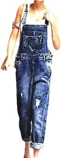 XINHEO Womens Suspenders Big Pockets Ripped Hole Denim Bibs Jumpsuits
