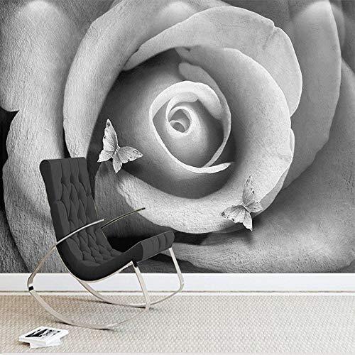 Fresco Fotobehang, fotobehang, 3D-fotobehang, zwart-wit, roze, bloemen, muurschildering, woonkamer, tv, sofa, slaapkamer, woonkamer, decoratie 430cm (W) x 300cm (H)