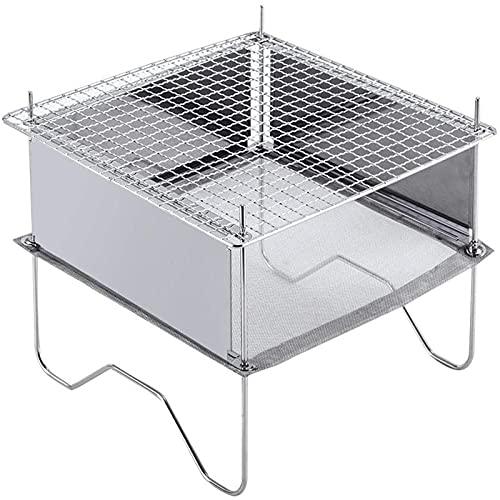 AUTUUCKEE Parrilla de barbacoa, parrilla de carbón plegable para camping portátil, kit de herramientas de barbacoa de acero inoxidable para cocinar al aire libre (9.5 pulgadas)