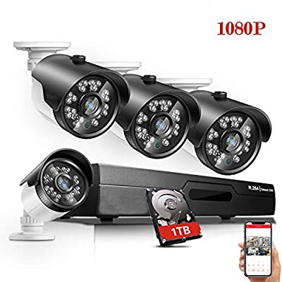 1080P Security Camera System 8 Channel CCTV DVR Recorder, 4PCS 1080P HD Wired Outdoor IP66 Weatherproof Surveillance Cameras with 100ft Night Vision, 1TB Hard Drive Included