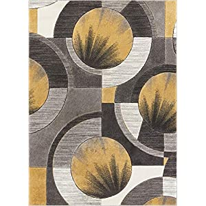 Well Woven Sunburst Gold, Light Grey, Charcoal Modern 5×7 (5'3″ x 7'3″) Geometric Comfy Casual Hand Carved Area Rug Easy to Clean Stain & Fade Resistant Abstract Contemporary Thick Soft Plush