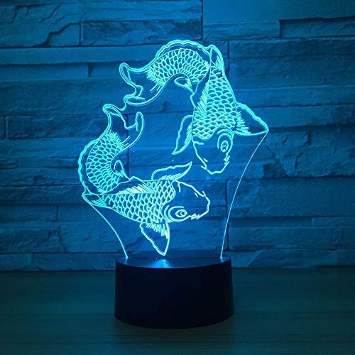TIANXIAWUDI Two fish-shaped night light creative colorful touch U-disk led lamps nice 7 color change 3D lights home office lights