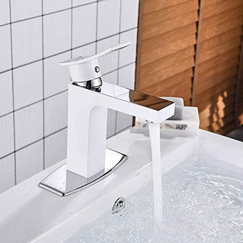 YZDD Grifo Grifo Hite Grifo de lavabo de baño Grifo mezclador de latón Grifo de cascada Grifos montados en cubierta Grifo de lavabo de grúa caliente y fría Grifo mezclador
