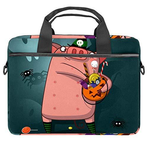 LORVIES Halloween Pig Hoed en Pompoen Snoepjes Laptop Tas Schouder Messenger Tas Zakelijke Mouw Draaghandvat Tas voor 14 naar 15.4 inch Laptop Notebook
