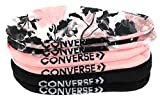Converse Women's 3 Pack Flat Knit Ultra Low Socks No Show Made For Chucks Shoe Size 6-10 (White/Storm Pink/Black Floral)