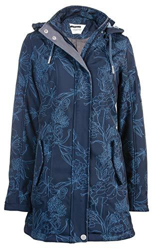 Odyssee Płaszcz softshell | damski | długi | kurtka wiosenna | w kropki i paski | oddychający | wiatro- i wodoodporny | kaptur | wysoki kołnierz | regulowany, odpinany kaptur
