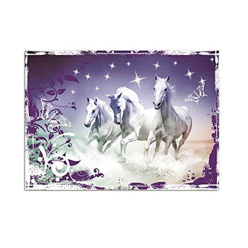 GRAZDesign Wandtattoo Pferdemotiv Wandbilder DREI Pferde, Glitzer Banner mit Ornamenten, Wandaufkleber Lila Farben / 70x50cm Breite x Höhe