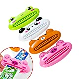 Aysekone 4 Pcs Mixed Designs Toothpaste Dispensers Cute Practical Cartoon Animal Plastic Frog Cat Panda Pig Shaped Squeeze Ease Tube Squeezers