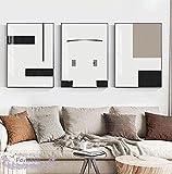 Lienzo Pintura Arte de la pared Cartel nórdico en blanco y negro gris Cuadros abstractos para la sala de estar Moda Decoración moderna para el hogar- (50X70cm) 3 piezas Sin marco