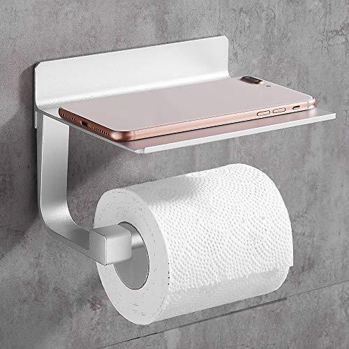 Gricol Portarotolo di carta igienica Porta Carta Igienica Autoadesivo con Ripiano in Alluminio Porta Telefono per Cucina e Bagno Argento
