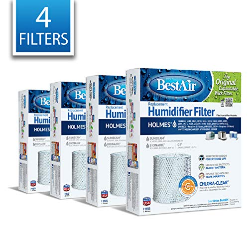 BestAir H65-PDQ-4 Extended Life Humidifier Replacement Paper Wick Humidifier Filter, 8.2