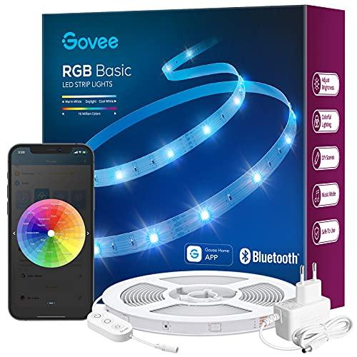 Govee LED Strip 10m, Bluetooth RGB LED Streifen, Farbwechsel, Musik Sync, 64 Szenenmodus, Steuerbar via App-steuerung, und Steuerbox