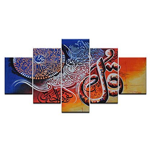 YDGG wandkunst canvas schilderij Islami afbeeldingen Bijbel afbeeldingen afdrukken 5 stuks woonkamer kinderkamer wooncultuur 40 x 60 40 x 80 40 x 100 cm zonder lijst