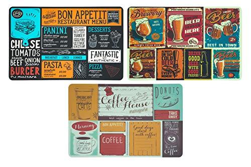 Utilissimi Set Tovagliette Americana Vintage in Plastica Lavabili 44x28 cm, Tovaglietta Americana Fantasia in PVC (Set da 3)