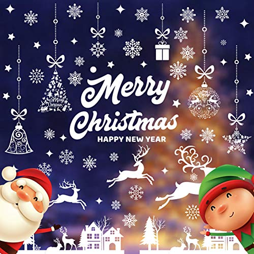 CHEPL Vetrofanie Natalizie Natale Vetrofanie Fai da Te Decorazione Vetrofanie Fiocchi Vetrina Sticker Fiocco di Neve Albero di Buon Natale per casa Negozi (9 Fogli)