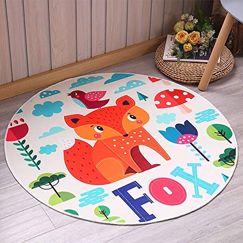 Cute Funny Cartoon Animal Round Tent Mat, Kids Tent Game Play House Rugs, Children's Fun Playmat Non-slip Design Home Decor 0930 (Color : Fox)