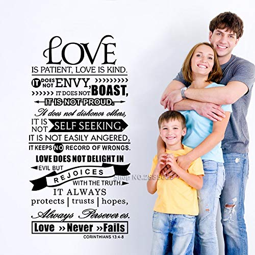 yiyitop Versículo bíblico 1 Corintios 13: 4-8 Etiqueta de la Pared El Amor es Paciencia Escritura Referencia Etiqueta de la Pared Vinilo Inspirador Home Art Deco 42x83cm