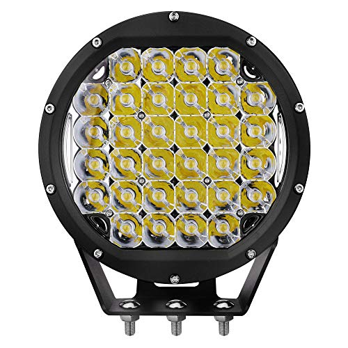 Primelux Waterproof 8-inch 14400 Lumens Off Road LED Driving Light - 32x5W Cree Spot Beam Compatible with Jeep Wrangler Off-Road Vehicles Agriculture ATV, UTV - Waterproof IP67 (Black Ring)